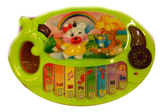 Купить Музыкальный инструмент синтезатор кошка звук зеленый Б80349, Музыкальный инструмент Синтезатор Кошка зеленый Gratwest Б80349, Детские музыкальные инструменты
