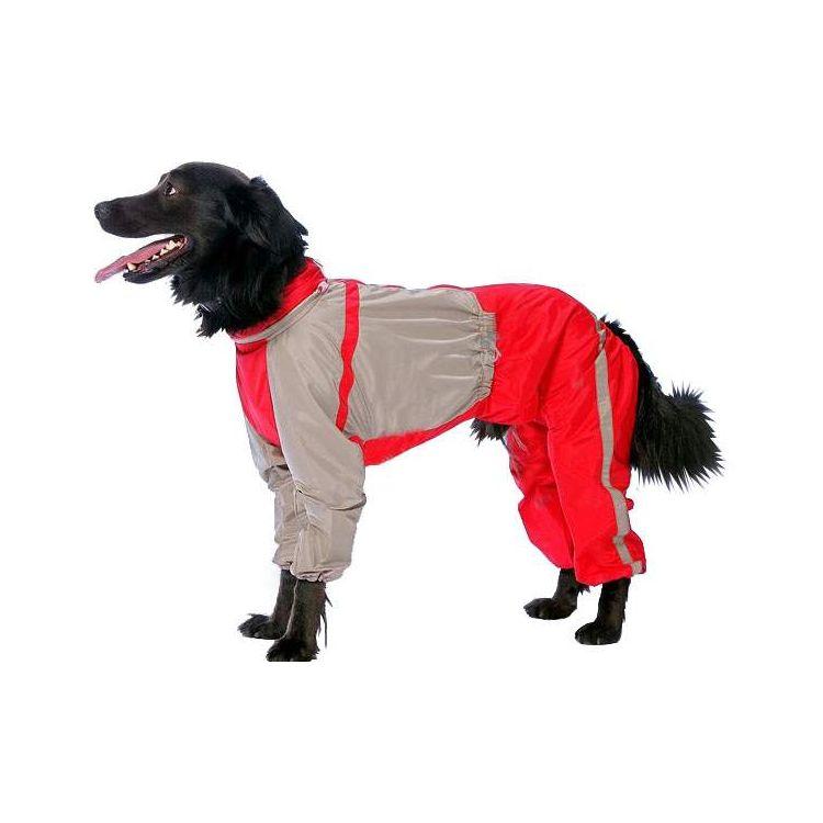 Комбинезон для собак ТУЗИК размер 3XL мужской, красный, серый, длина спины 50 см