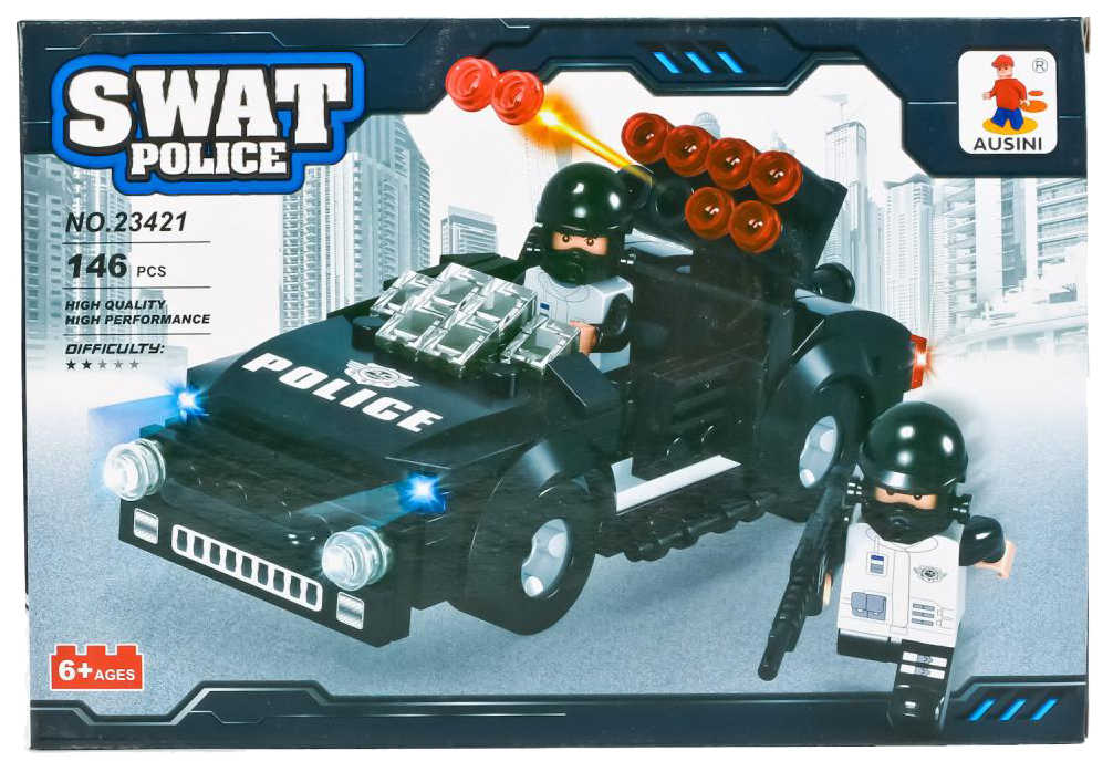 Конструктор пластиковый Ausini Машина полиция с фигуркой 23421 Swat Police фото