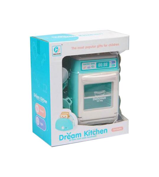 Купить Детская плита Наша игрушка с посудой, бирюзовая, со световыми и звуковыми эффектами, Детская кухня