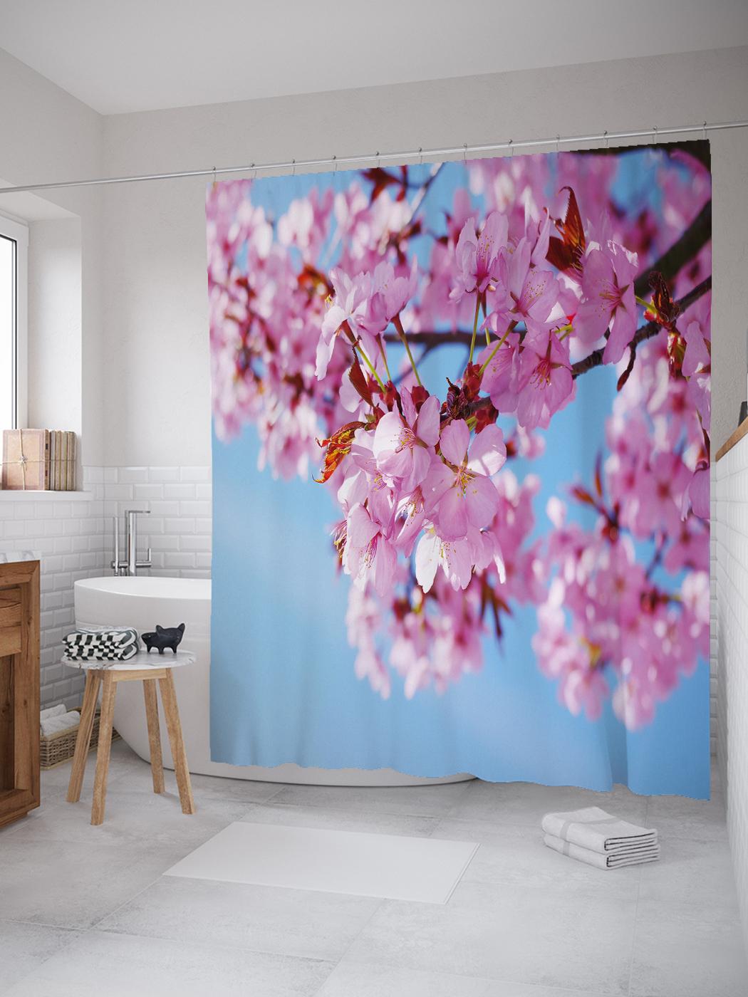 Штора (занавеска) для ванной «Розовая сакура» из ткани, 180х200 см с крючками