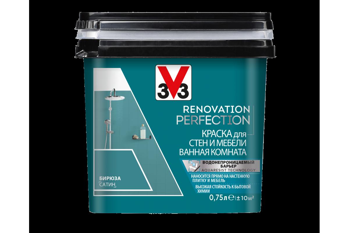 Краска V33 для стен и мебели в ванной комнате Renovation Perfection Цвет бирюза