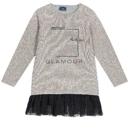 Купить 9003557, Платье детское Chicco длинный рукав р. 110 цв.серый,