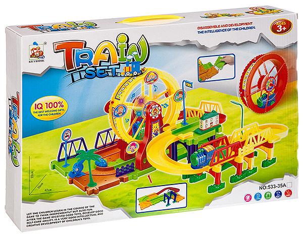 Купить Набор игровой Поезд на трассе с колесом обозрения , 57 деталей, Shenzhen Jingyitian Trade, Детские железные дороги