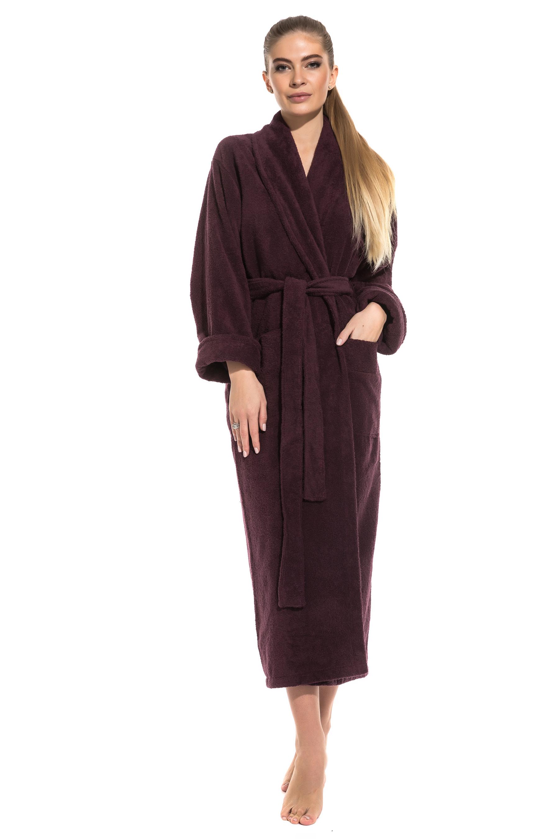 Женский удлиненный махровый халат Pure Comfort Peche Monnaie 740, сливовый, S