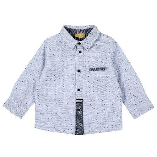 Купить 9054481, Рубашка Chicco для мальчиков, размер 74, цвет синий, Кофточки, футболки для новорожденных