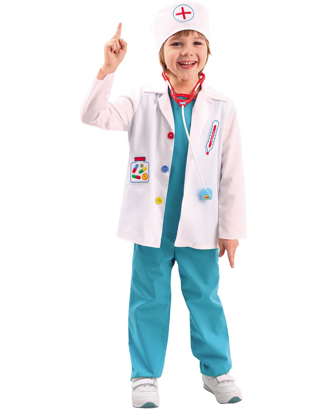 Карнавальный костюм Батик Доктор, цв. белый; голубой