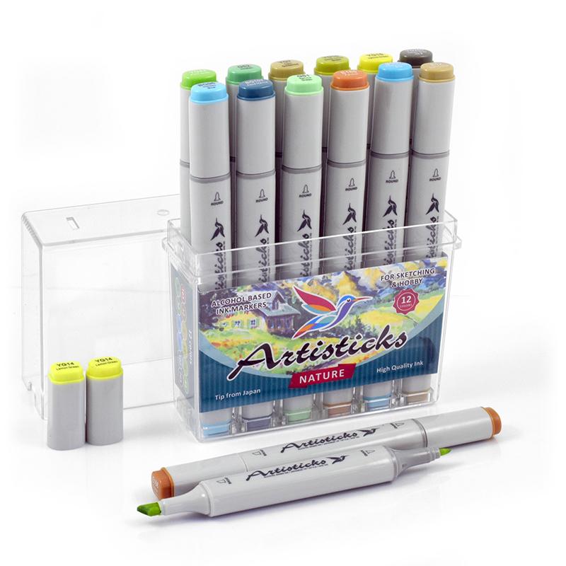 Набор спиртовых маркеров Artisticks Style NATURE 12 цветов 2-сторонние 1-6 мм