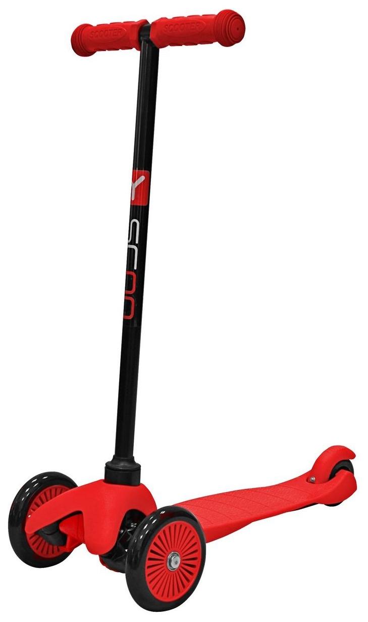 Купить Самокат трехколесный Y-Scoo mini A-5 Simple red с цветными колесами, Самокаты детские трехколесные