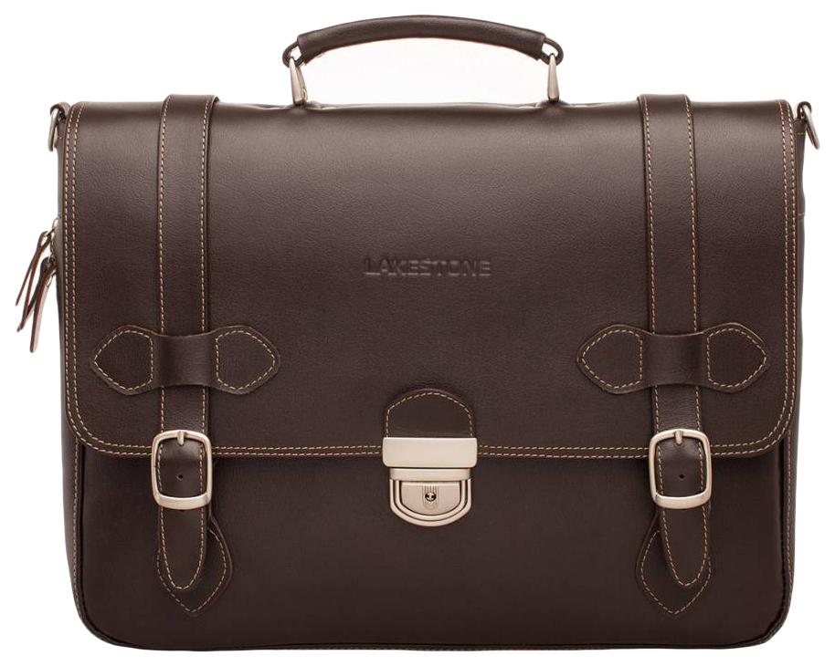 Портфель мужской кожаный Lakestone Belmont коричневый фото