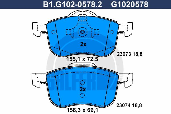 Комплект тормозных дисковых колодок GALFER B1.G102-0578.2 фото