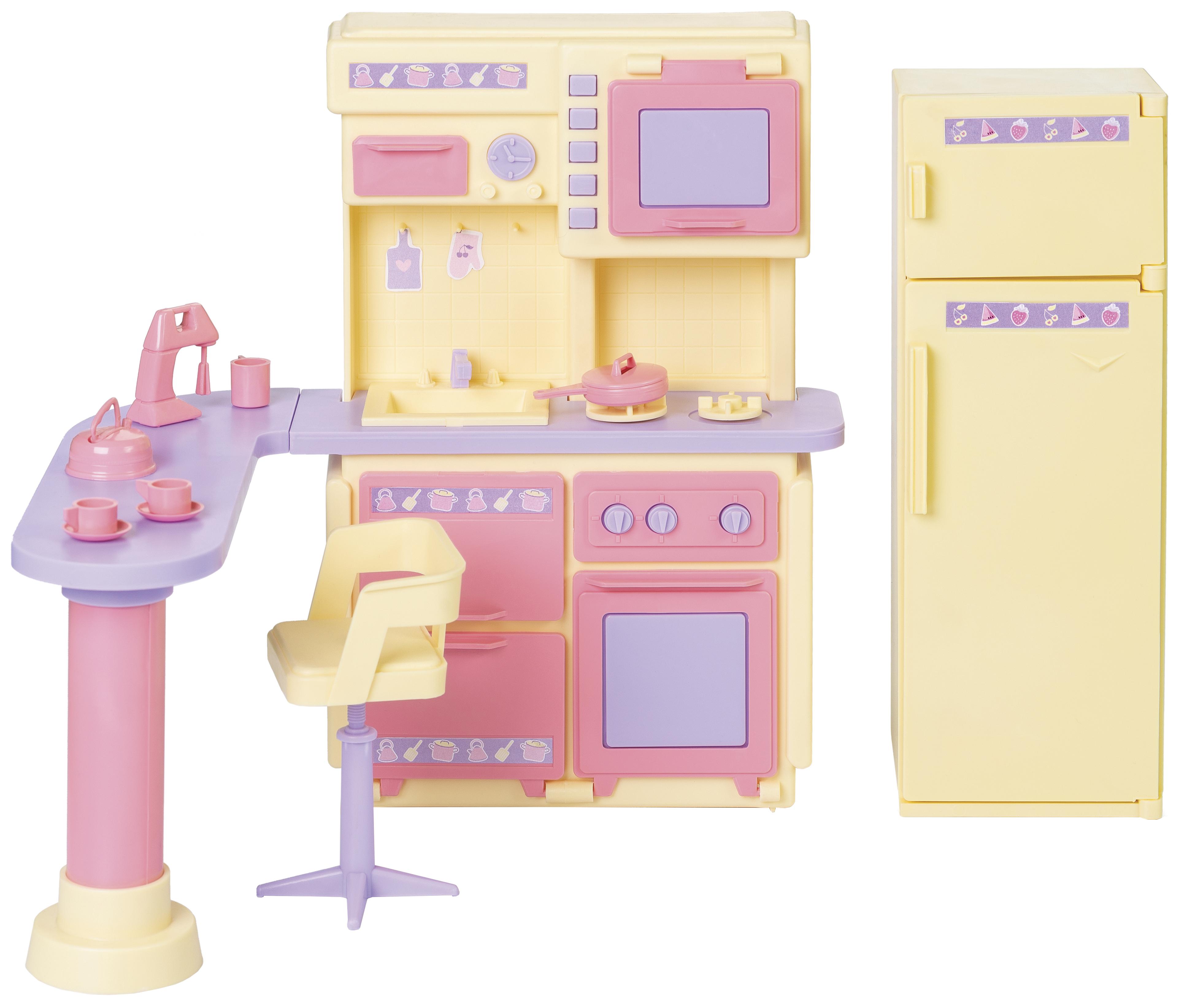 Мебель для кукол Огонек Кухня Маленькая принцесса Желтая