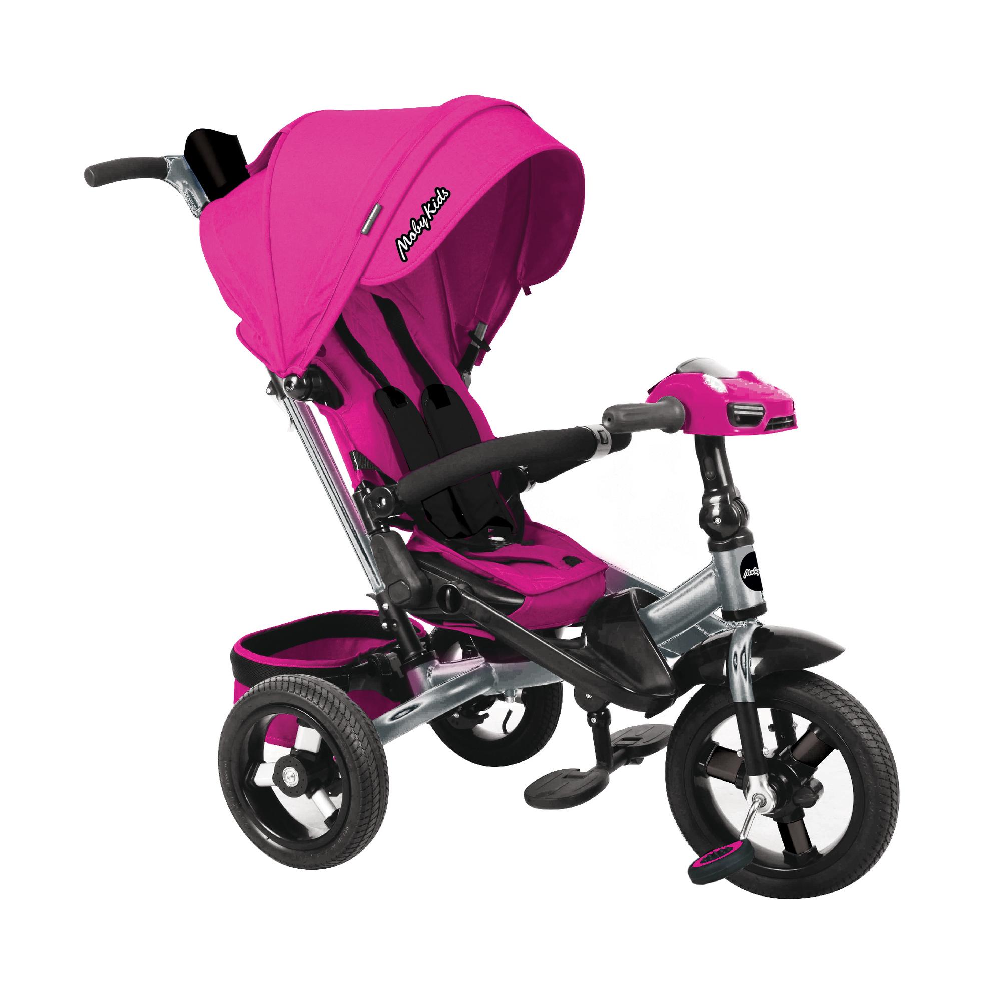 Велосипед трехколесный Moby Kids Leader 360°. AIR Car, с разворот. сиденьем розовый 641213