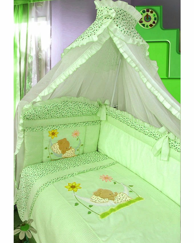 ЗОЛОТОЙ ГУСЬ Комплект в кроватку Сладкий сон (цвет: зеленый, 7 предметов) 1094