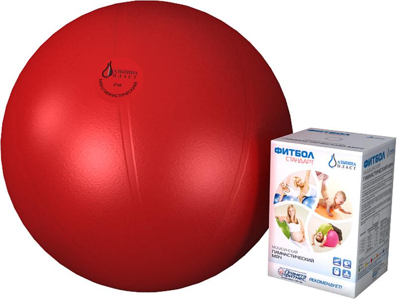 Мяч полумассажный Альпина Пласт Стандарт, красный, 75 см