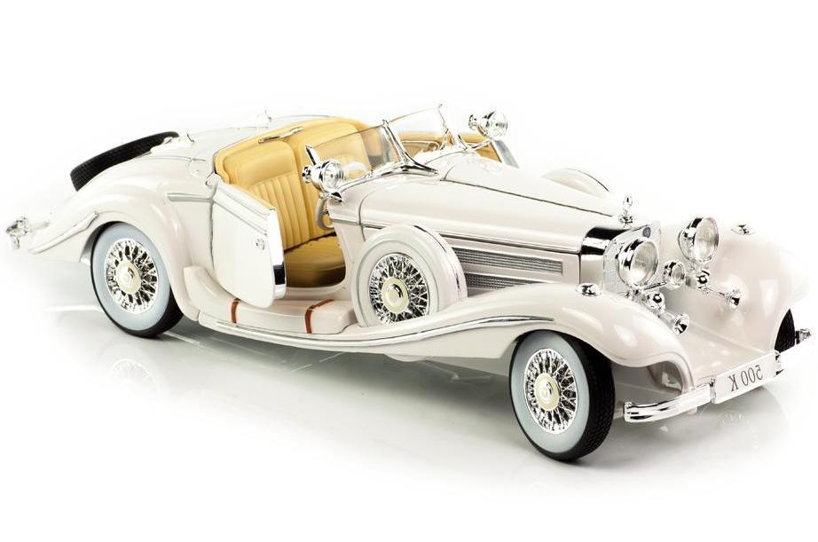 Купить Машинка Maisto 1:18 Mercedes-Benz 500 K Typ Specialroadster 1936 год, белая, Коллекционные модели