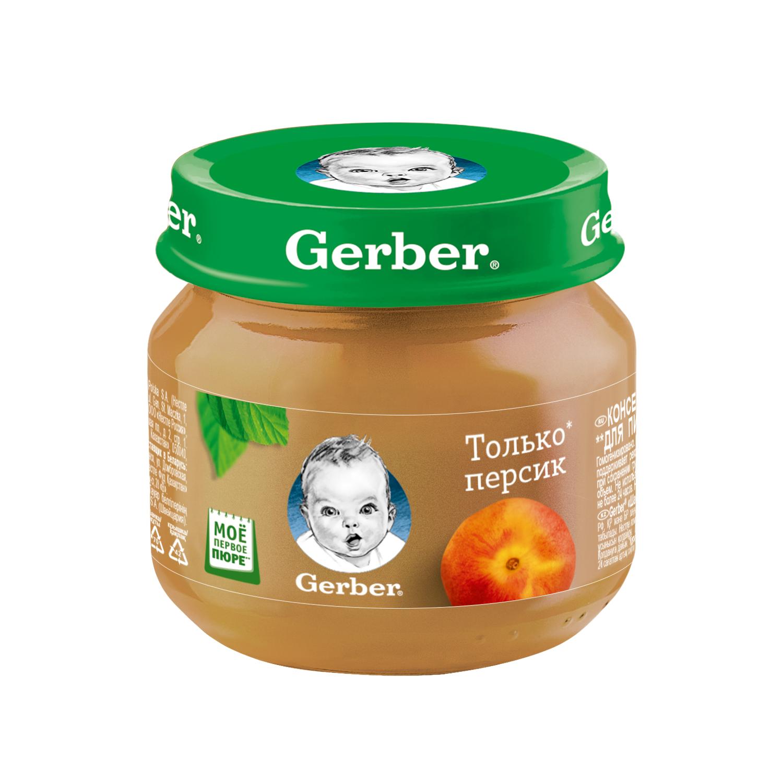 Купить Персик 80 г, Пюре фруктовое Gerber Персик с 4 мес 80 гр, Фруктовое пюре