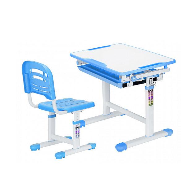 Комплект парта и стул Mealux EVO-06 белый, голубой,