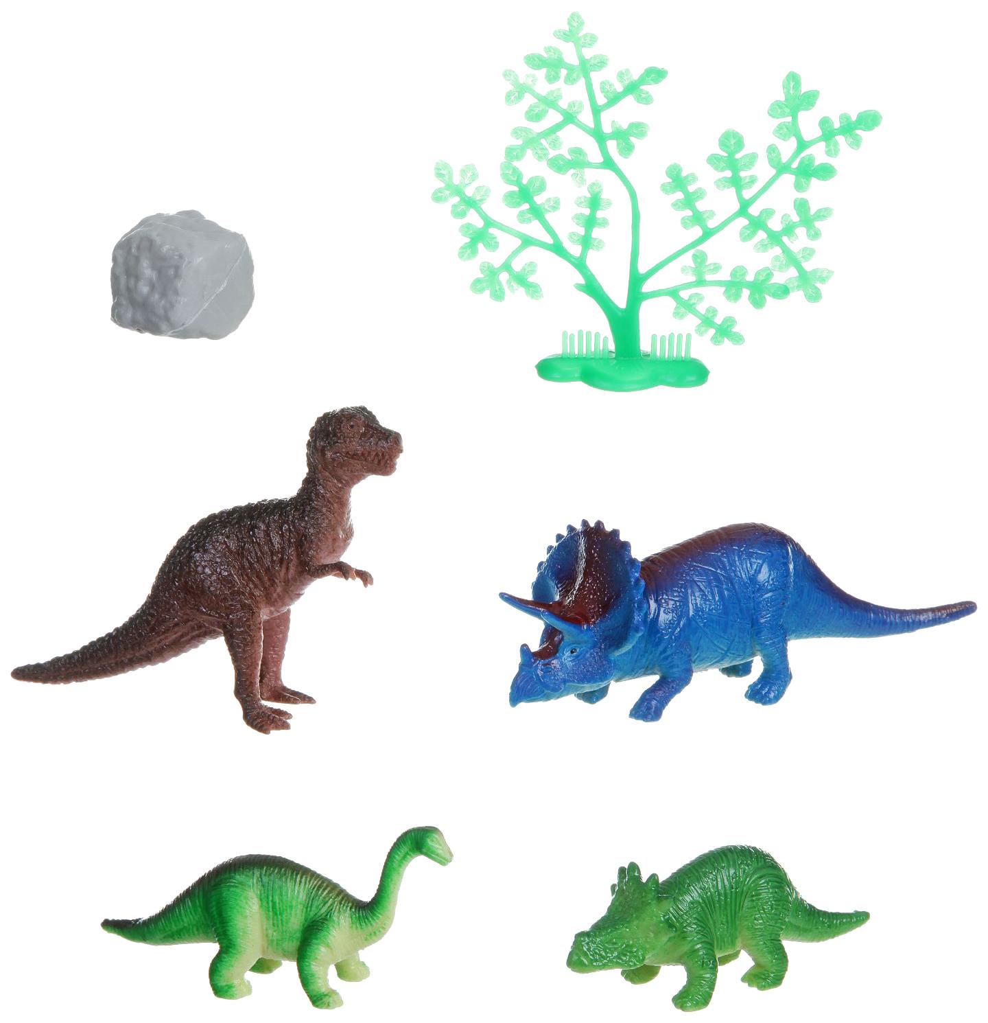 Купить Набор фигурок животных Bondibon ребятам о зверятах Динозавры 4шт. камень деревце ВВ1619, Фигурки животных