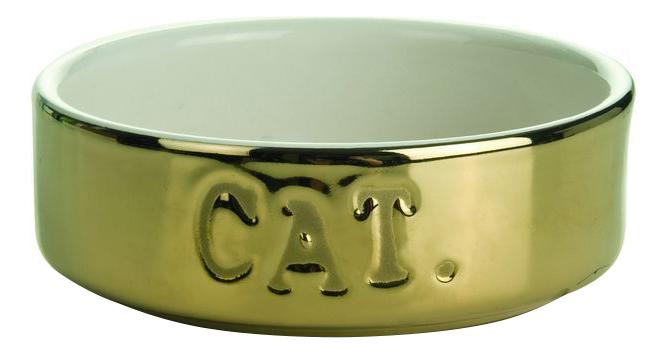 Одинарная миска для кошек I.P.T.S, керамика, золотистый,