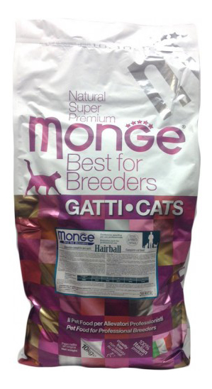 Сухой корм для кошек Monge Hairball, для выведения шерсти, курица, 10кг