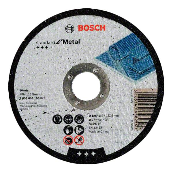 Отрезной круг Bosch Standard по мет, 125х2,5 прям 2608603166