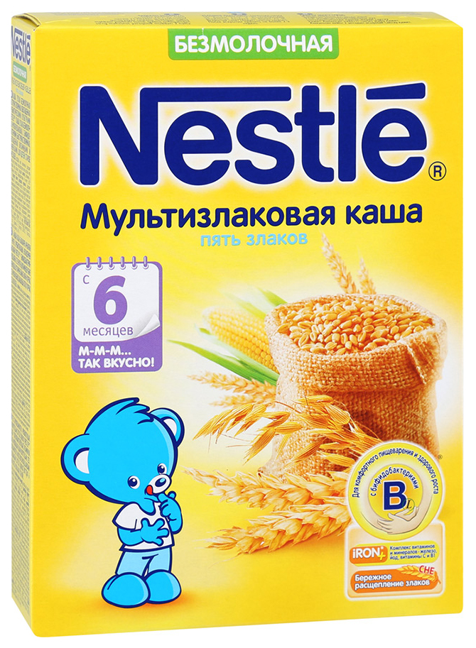 Купить Мультизлаковая 5 злаков 200 г, Безмолочная каша Nestle Мультизлаковая 5 злаков с 6 мес 200 гр, Детские каши