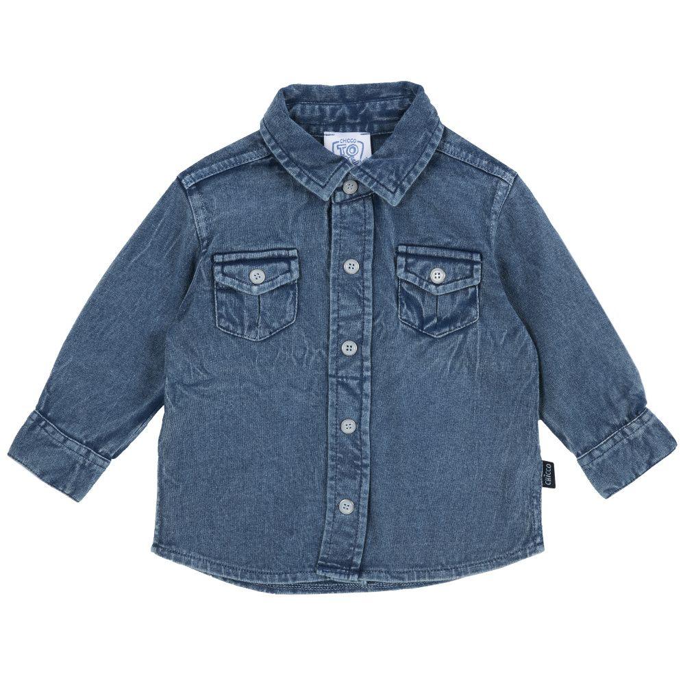 Купить 9054409, Рубашка Chicco джинсовая р.092 цвет синий, Кофточки, футболки для новорожденных