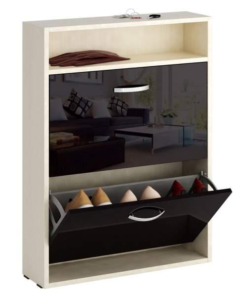 Обувница MFMaster Милан-25 МСТ-ОДМ-25У 60х17х88,2 см, дуб молочный/черный глянец
