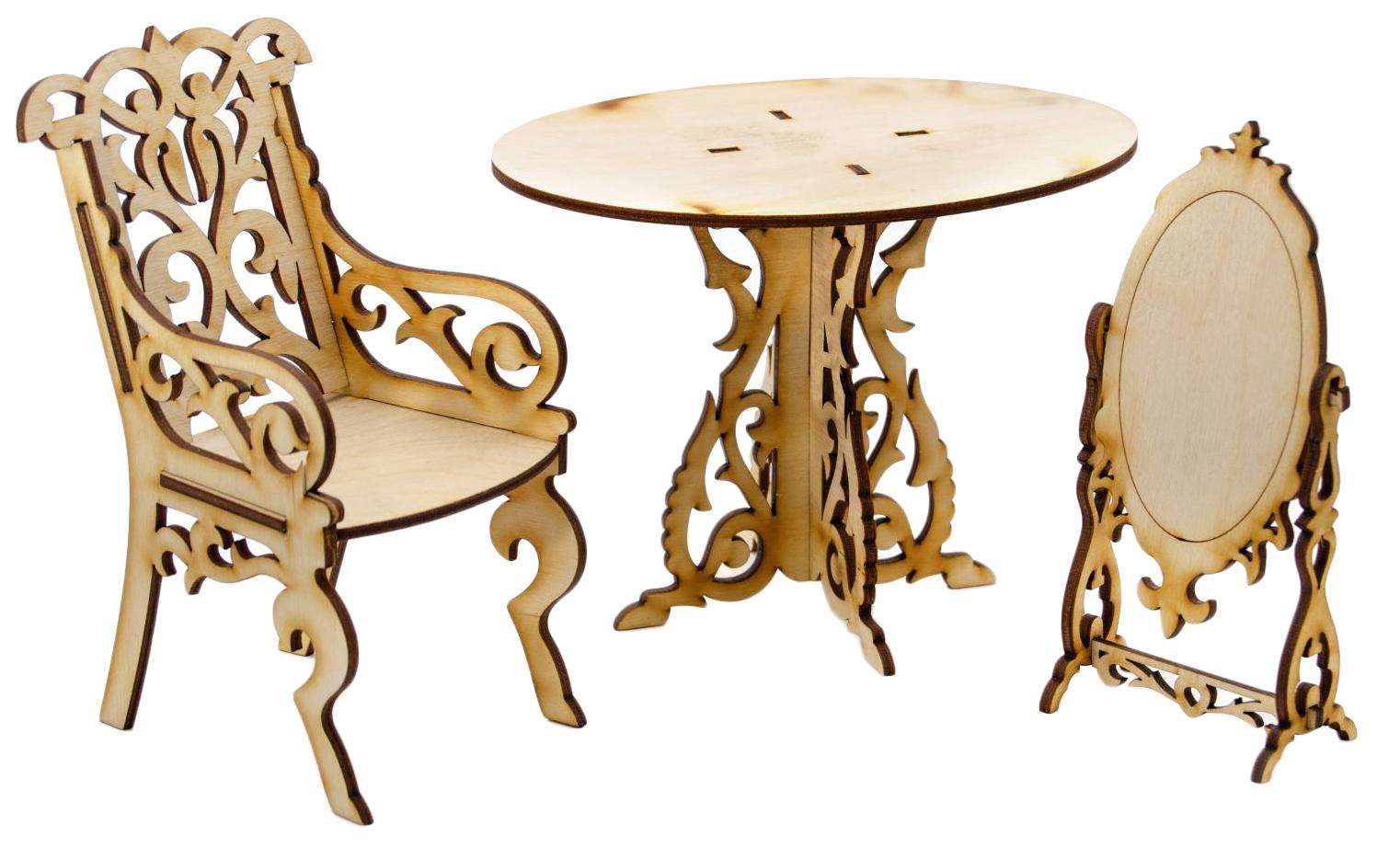 Купить Сборная деревянная модель мебели для кукол Туалетный столик Теремок, Модели для сборки