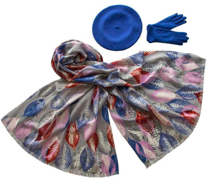 Комплект (берет, палантин, перчатки) Tonak/Tranini 45073 голубой фото