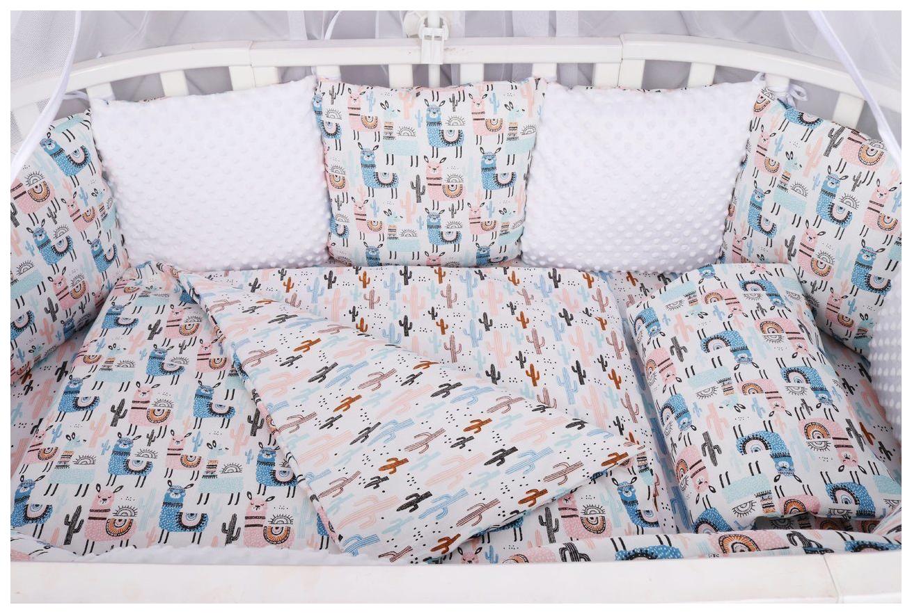 Комплект в кроватку AmaroBaby Ламы 15 предметов (3+12 подушек-бортиков) бязь, розовый