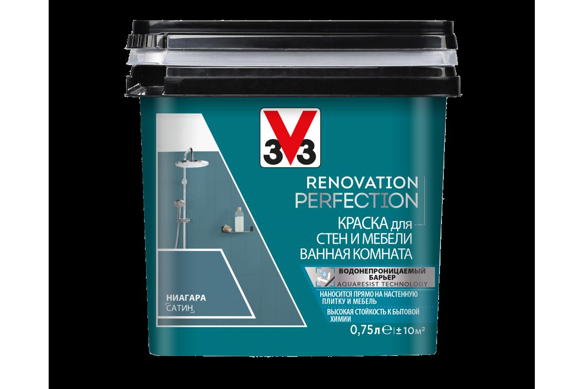 Краска V33 для стен и мебели в ванной комнате Renovation Perfection Цвет ниагара