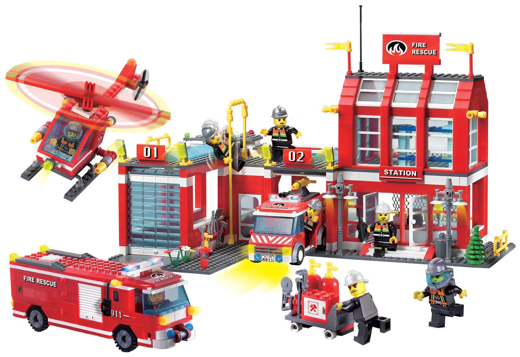 Купить Конструктор Brick Fire Rescue Пожарная станция, 980 деталей 911, Конструкторы пластмассовые