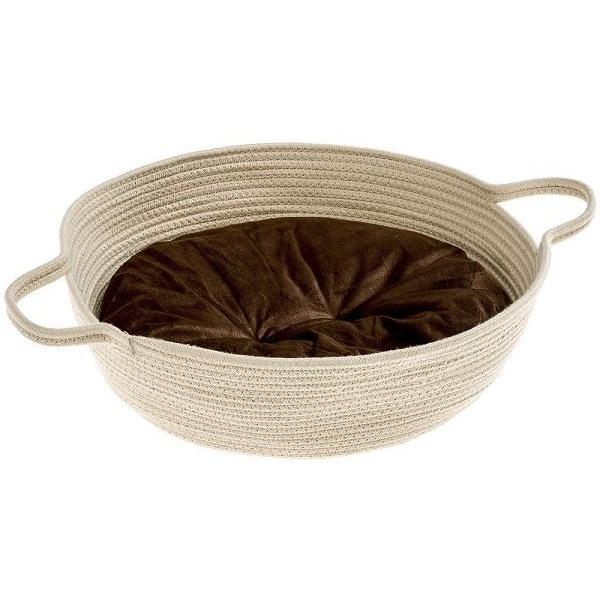 Лежак- корзина Ferplast Maja с двухсторонней подушкой для животных Ø 45хВ 15см, Бежевый
