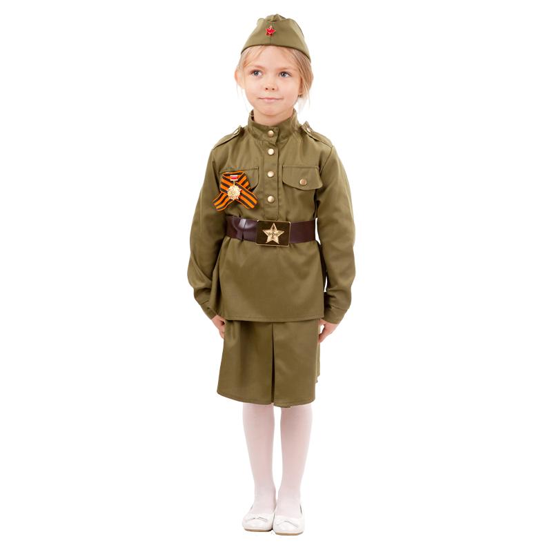 2033, Карнавальный костюм Батик Военный, цв. зеленый р.134,  - купить со скидкой