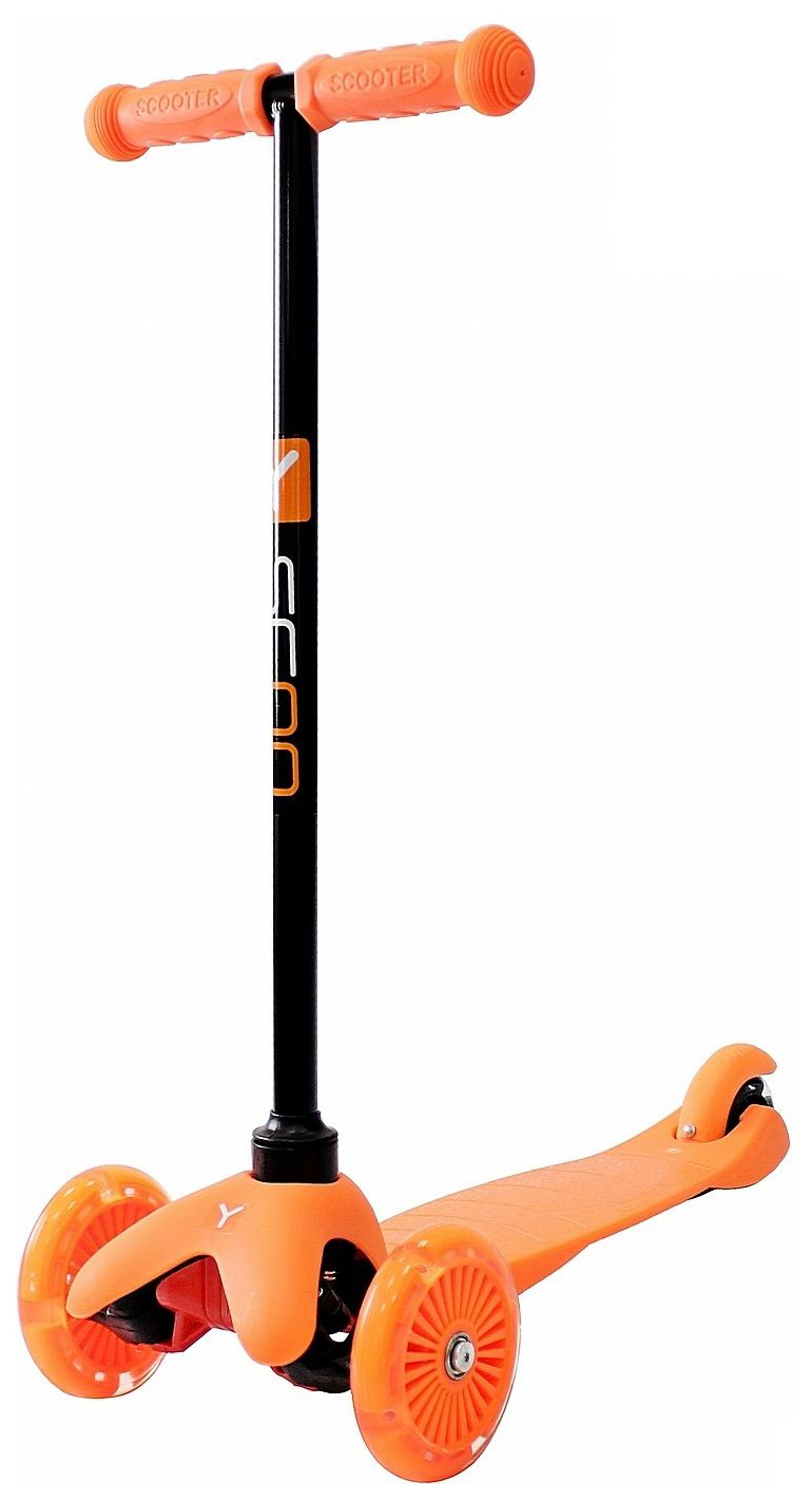 Купить Самокат трехколесный Y-Scoo mini A-5 Shine orange со светящимися колесами, Самокаты детские трехколесные