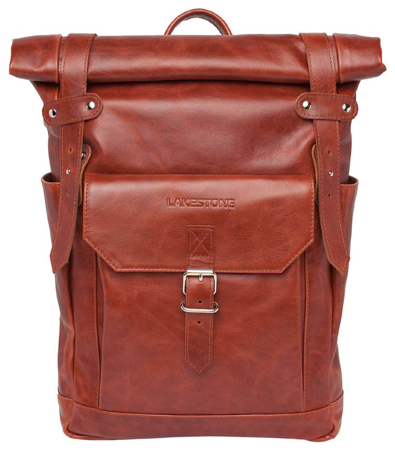 Рюкзак кожаный Lakestone Eliot оранжевый 13 л фото