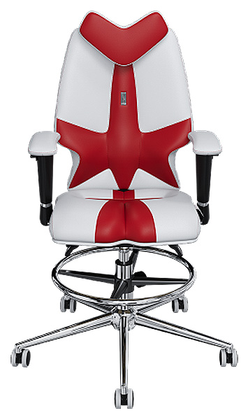 """Детское кресло Kulik System Fly, экокожа, отделка """"Duo color"""", Красный/Белый"""