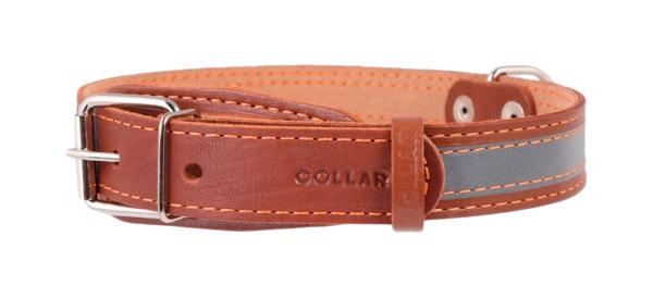Ошейник для собак Collar, кожаный, со светоотражающей лентой, коричневый, 32-40 см x 20 мм