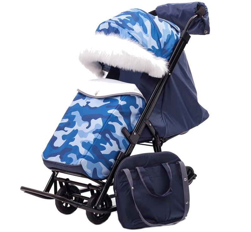 Купить Санки-коляска Pikate Military Синий, Санки складные