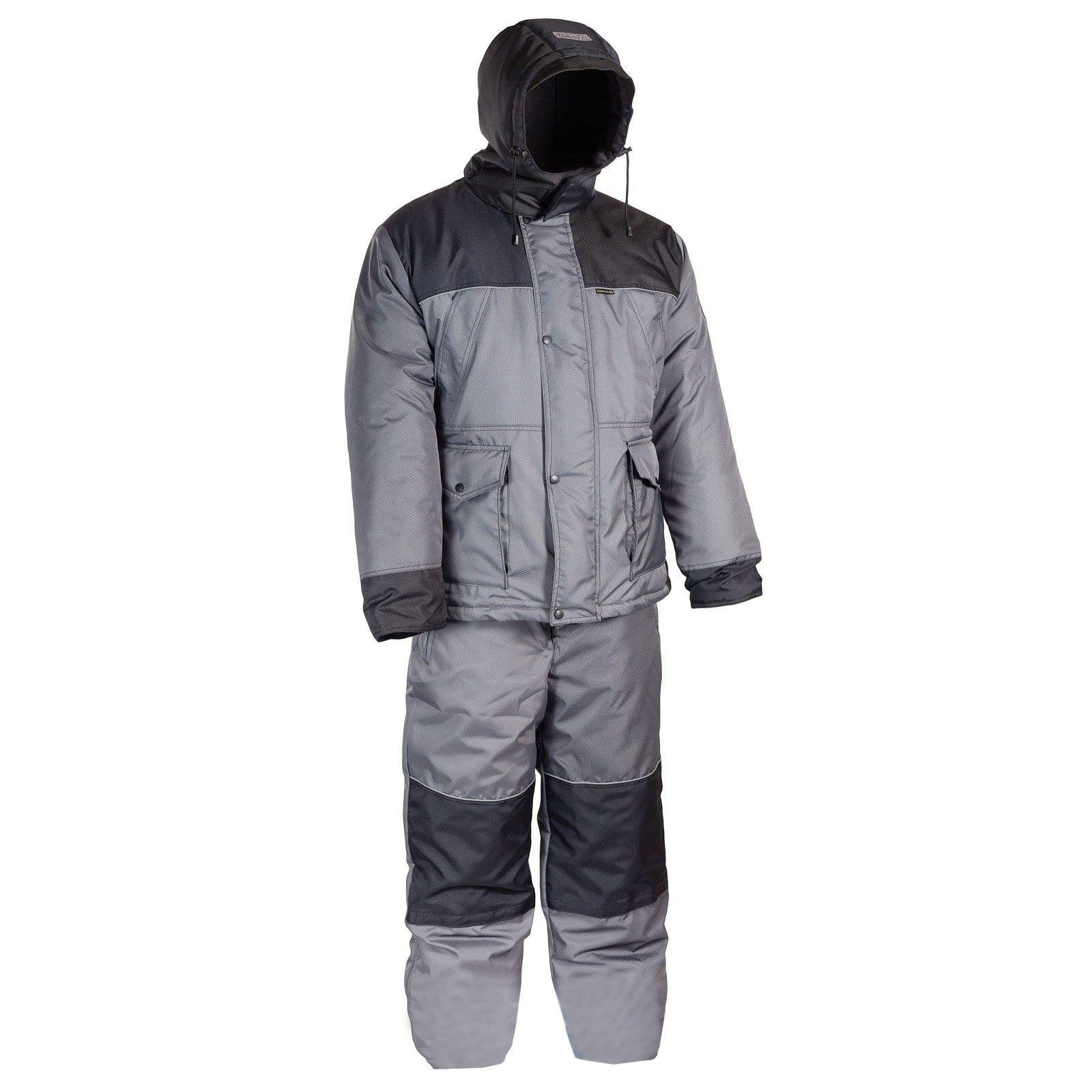 Костюм для рыбалки Huntsman Полюс, серый/черный, 56-58 RU, 180-188 см фото