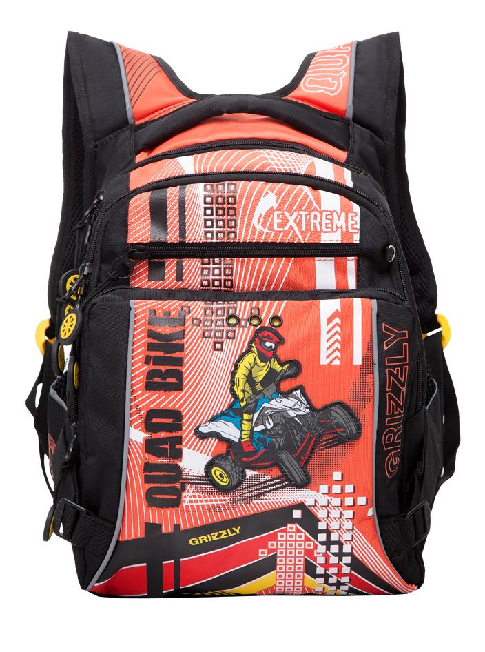 Купить Школьный черно-оранжевый, Рюкзак детский Grizzly Rb-631-1 школьный Черный - Оранжевый,