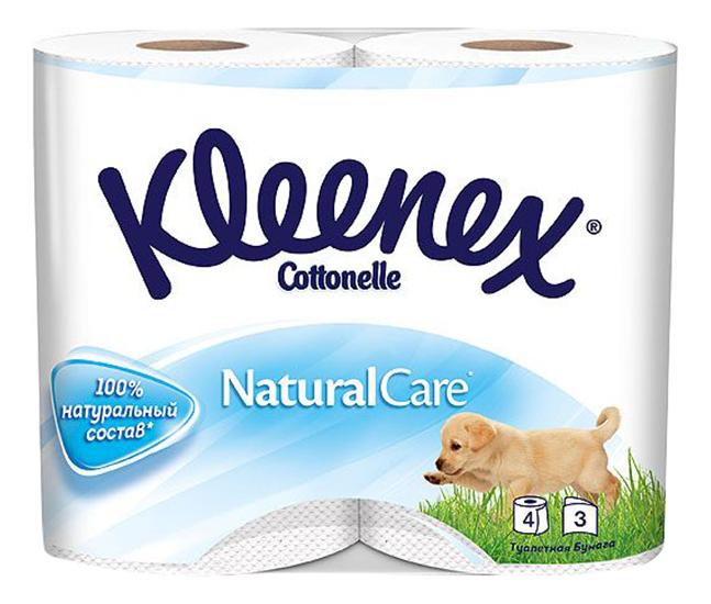 Купить Туалетная бумага Kleenex 3-ех слойная 4 шт., туалетная бумага Natural Care 4 шт