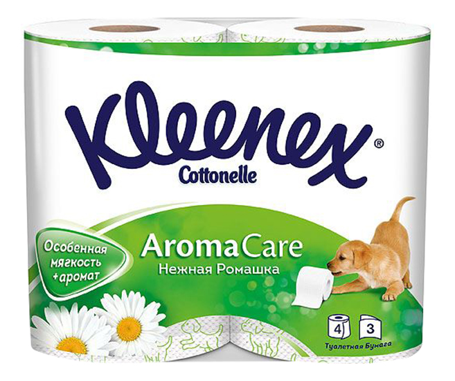 Туалетная бумага Kleenex Нежная Ромашка 3-ех слойная 4 шт.