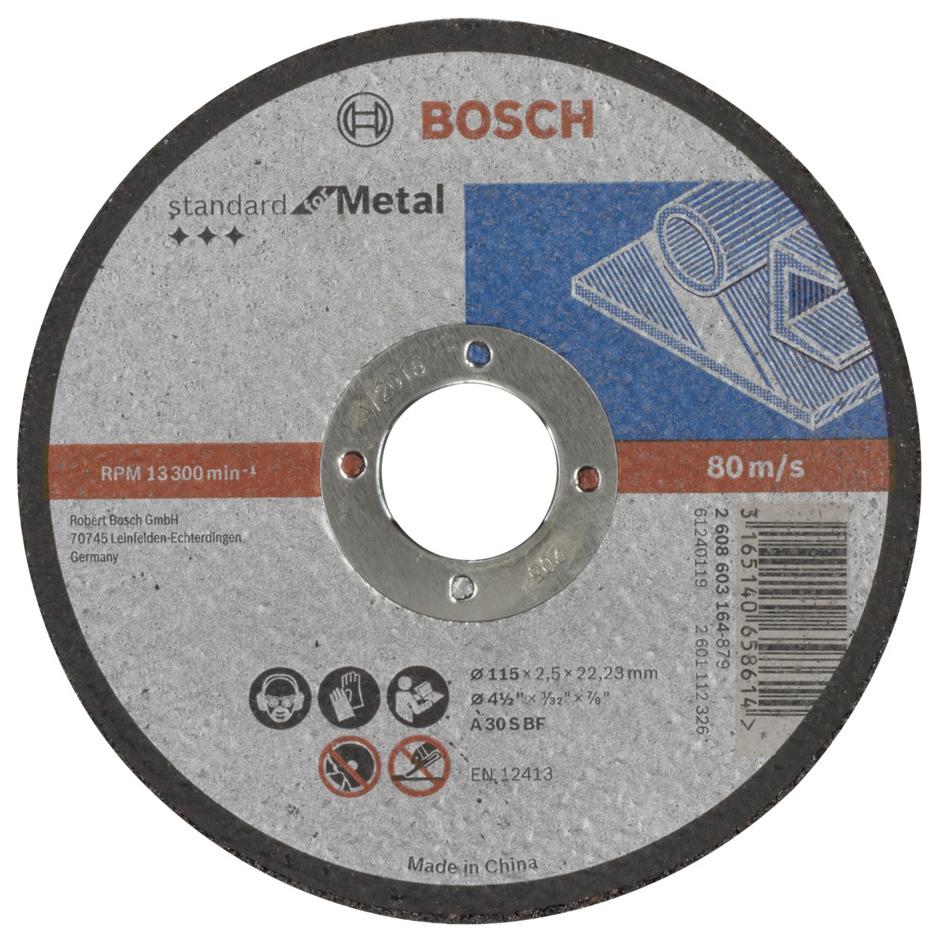 Отрезной круг Bosch Standard по мет, 115х2,5 прям 2608603164