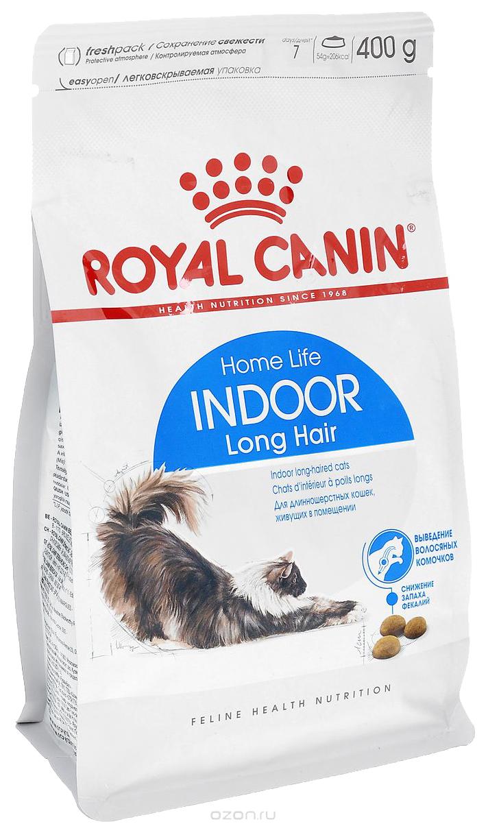 Сухой корм для кошек ROYAL CANIN Indoor Long Hair, для домашних длинношерстных, 0,4кг фото