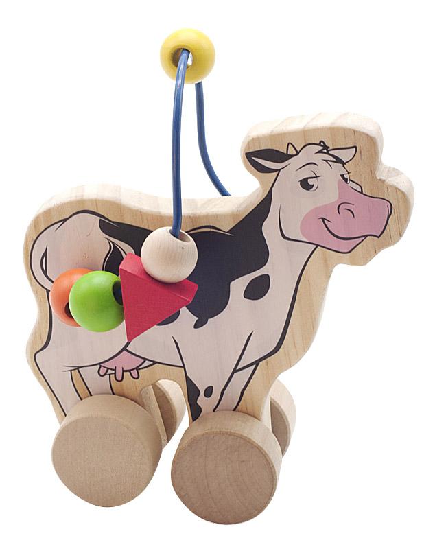Купить Каталка детская Мир Деревянных Игрушек Корова, Игрушечные машинки