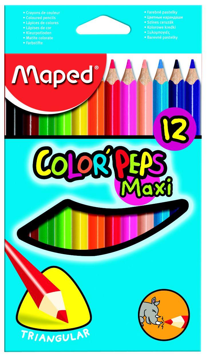Купить -, Карандаши цветные COLOR'PEPS MAXI треугольные 12 цветов MAPED