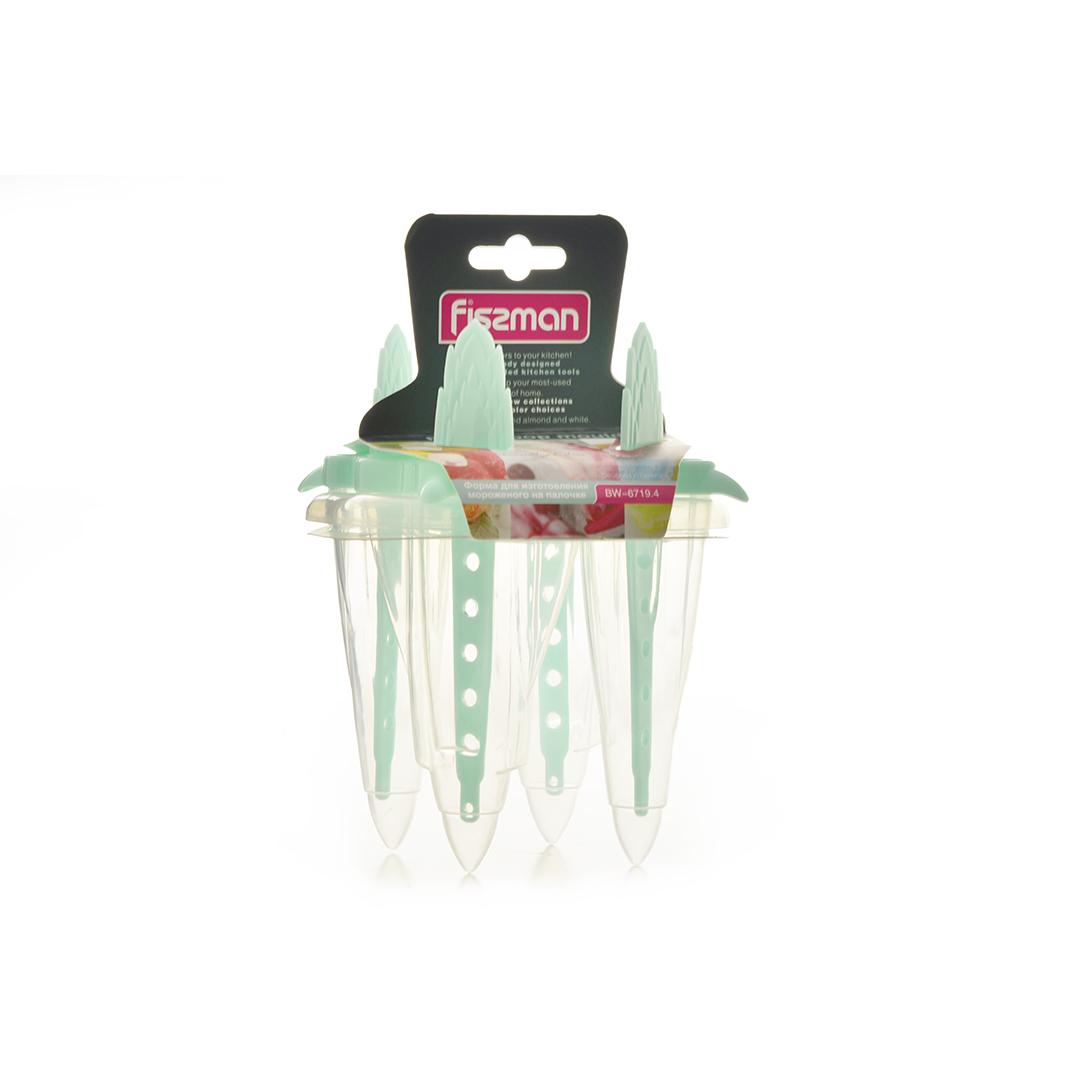 6719 FISSMAN Форма для изготовления мороженого на палочке 4 ячейки (пластик)